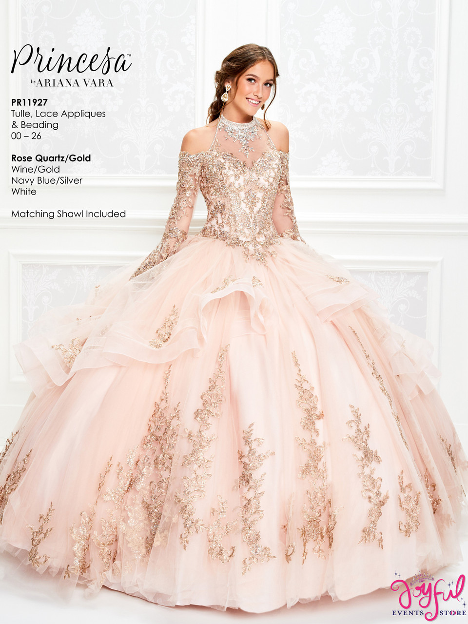 Rose Quartz Gold Quinceanera Dress Pr11927rq Joyful Events Store