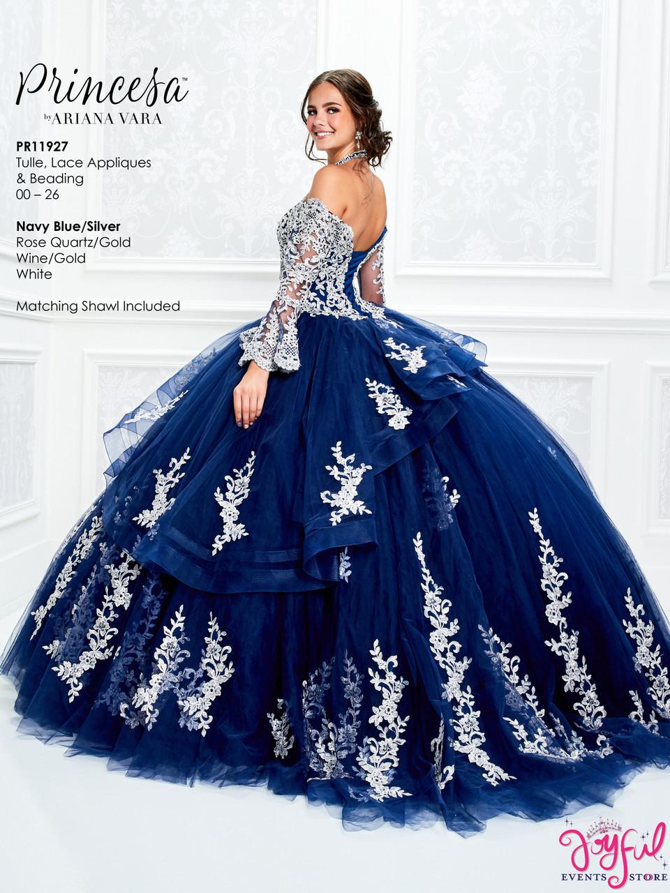 Navy Blue/Silver Quinceanera Dress