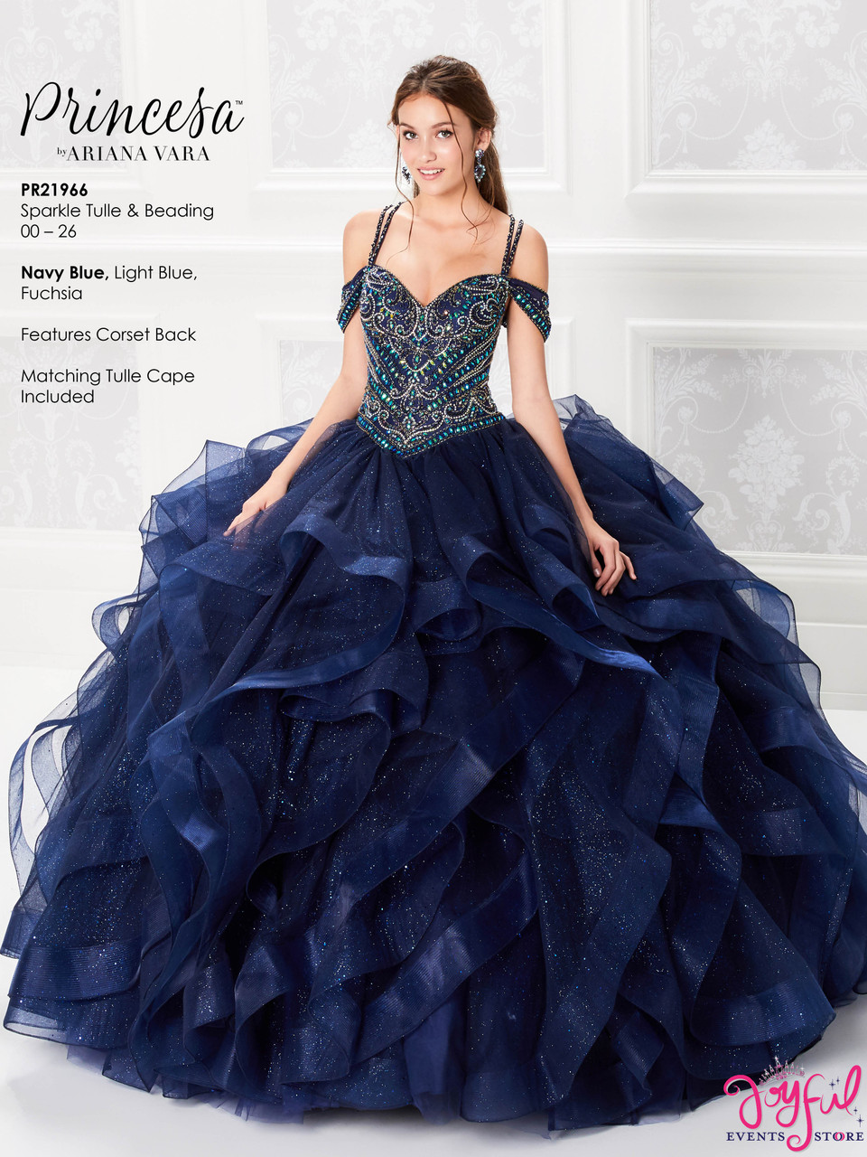 Navy Blue Quinceanera Dress PR21966NV