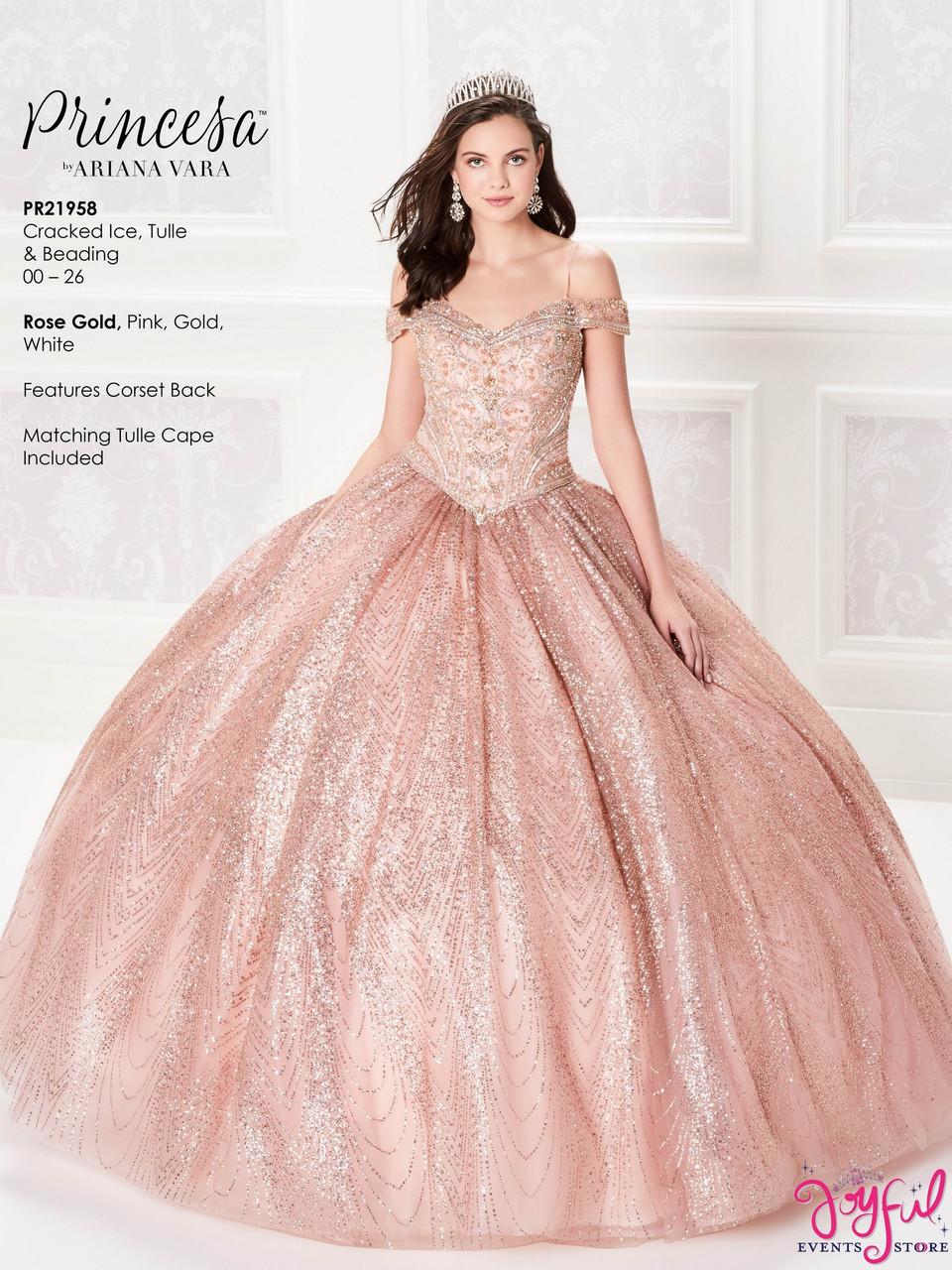 Rose Gold Quinceanera Dress Pr21958rg Joyful Events Store