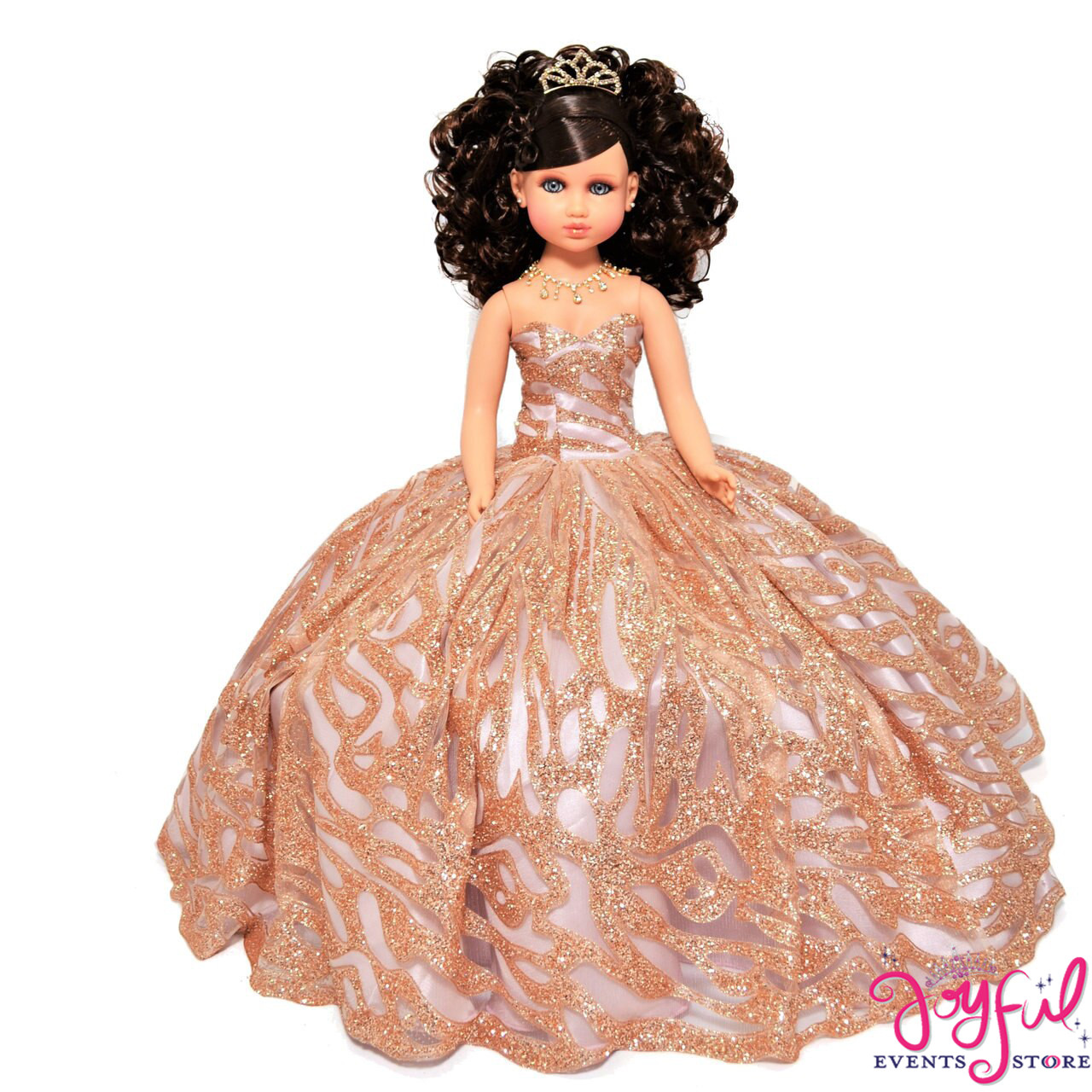 20 Quinceanera Last Doll Or Ultima Muneca Dressed In A Rose Gold Dress