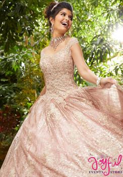 5e2e50d4d8c Crystal Beaded Metallic Lace Appliqués on a Patterned Glitter Net Ballgown   89243