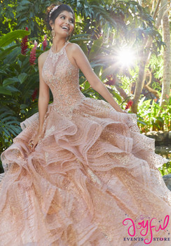 a3648a2c2b9 Rhinestone and Crystal Beading on a Metallic Embroidered Glitter Net  Ballgown  89257