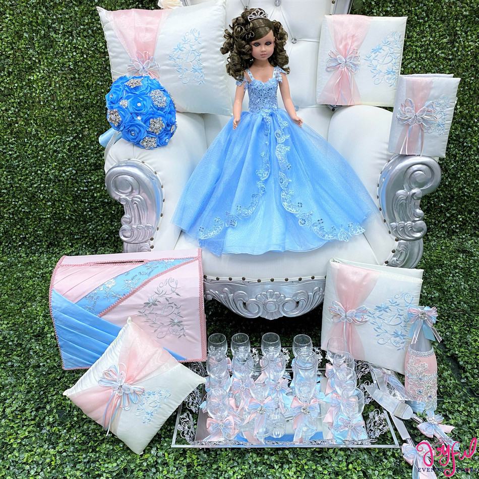 Quinceanera Package with Pillows, Guest Book, Album, Bible, Doll, Cider Bottle, 16 Decorated glasses, Cake Knife Set, Flower Bouquet and Money Box #NUTSET25