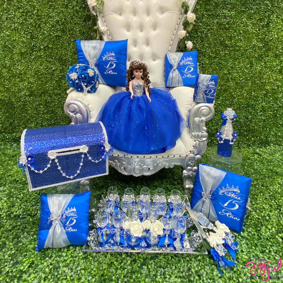 Quinceanera Theme Package with Pillows, Guest Book, Album, Bible, Doll, Cider Bottle, 16 Decorated glasses, Cake Knife Set, Flower Bouquet and Money Box #NUTSET38