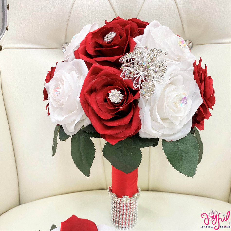 Red with White Flower Bouquet #RAC97