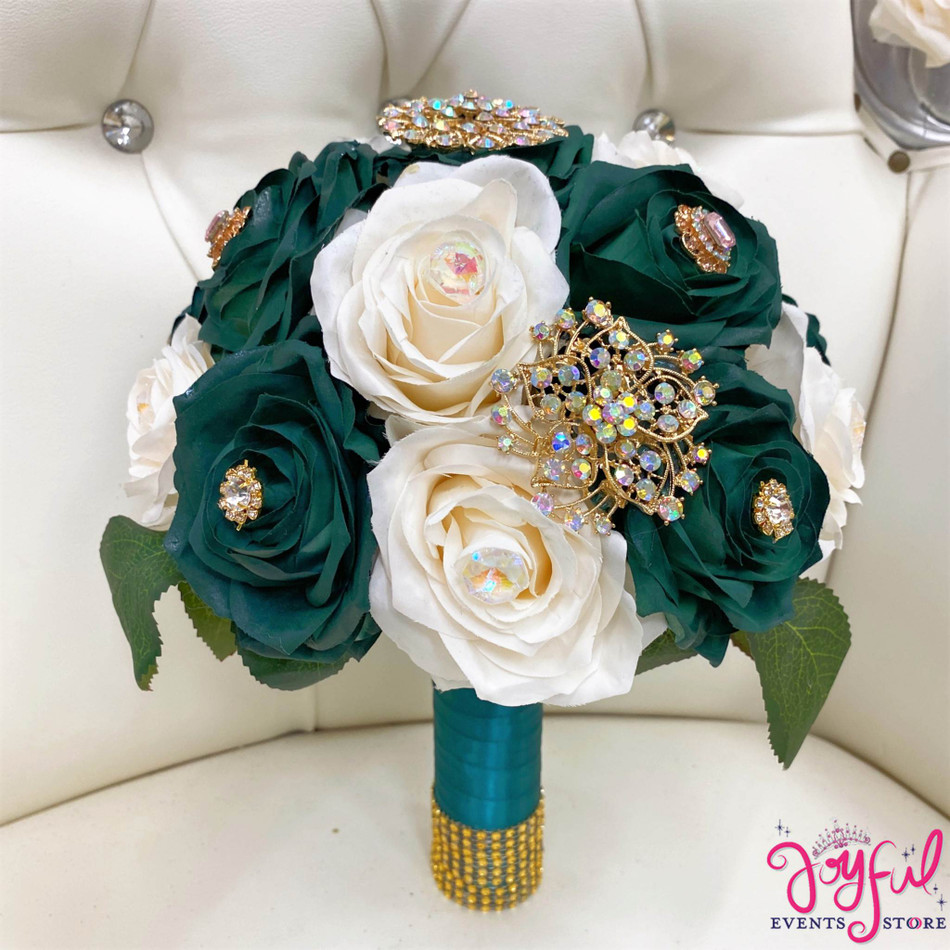 Green with Ivory Flower Bouquet #RAC98