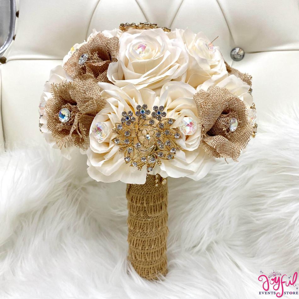 Burlap Ivory Flower Bouquet #RAC103