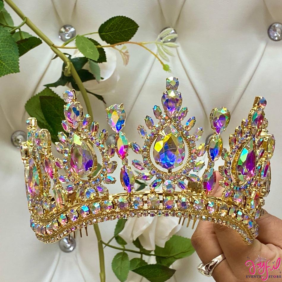 """3.5"""" Gold Princess Tiara #T187GD"""