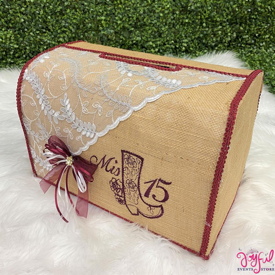 "15"" Burlap Charra Money Gift Box #MNYBX49"