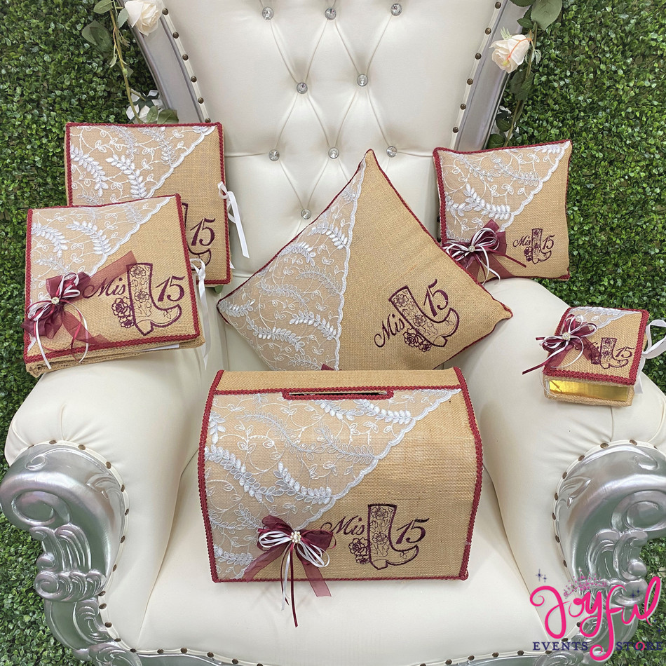 Charra Burlap Quinceañera Pillows, Guest Book, Photo Album and Bible #QSET160