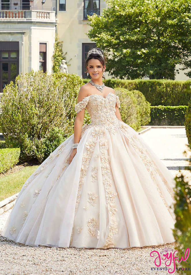 Three-Dimensional Floral Embroidered Quinceañera Dress #89301