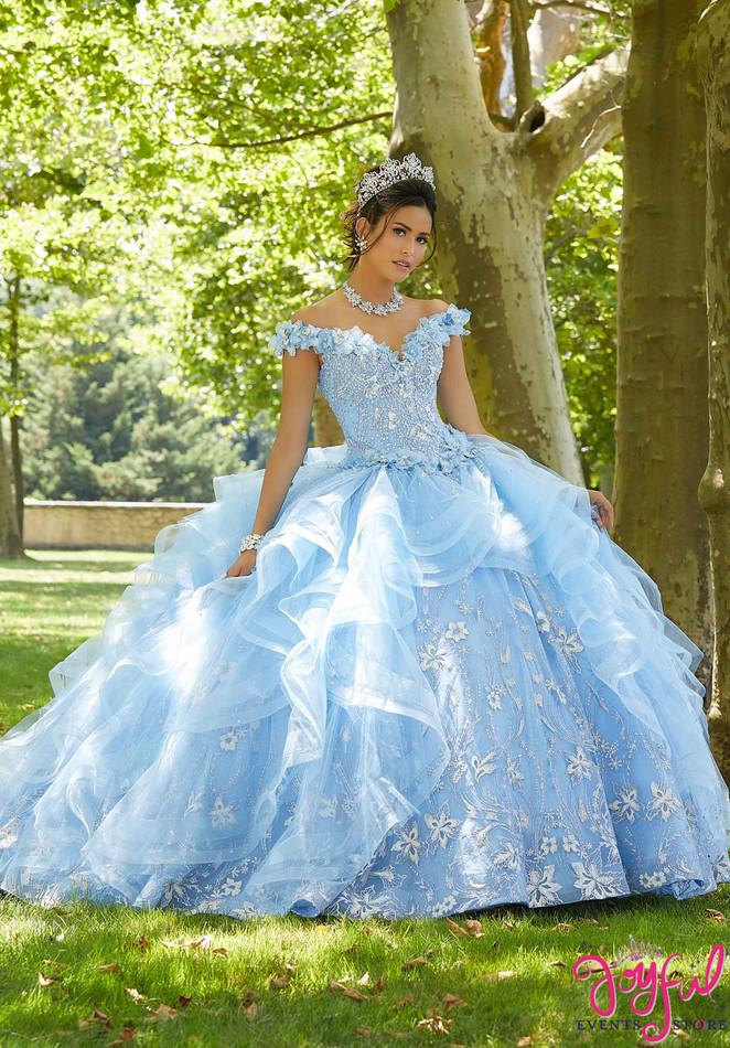 Floral Glitter Tulle Quinceañera Dress #89303