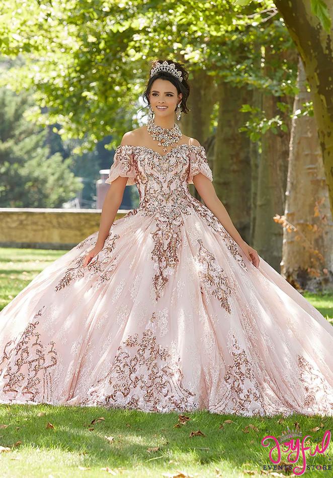 Crystal Beaded Lace Quinceañera Dress #89304