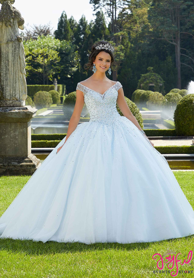 Pearl and Crystal Beaded Glitter Quinceañera Dress #60131