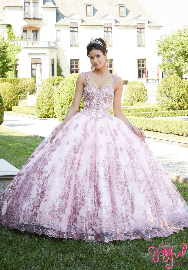 Metallic Embroidered Tulle Quinceañera Dress #60132