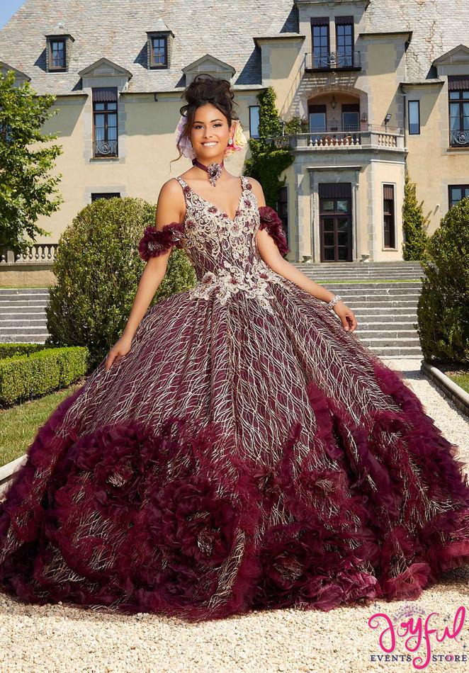 Ruffled, Pattern Glitter Quinceañera Dress #34041