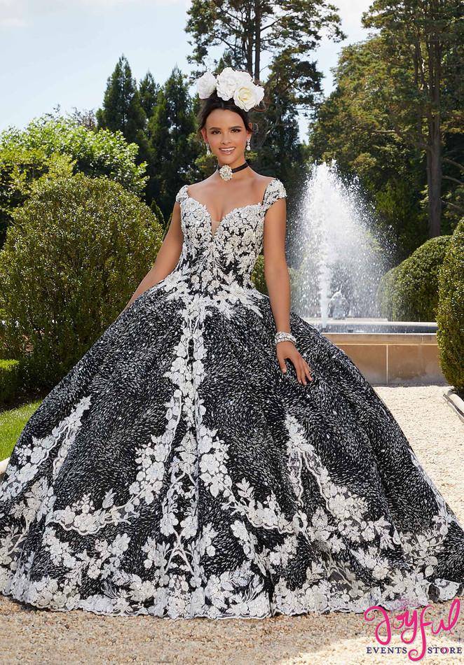 Patterned Caviar Glitter Net Quinceañera Dress #34042