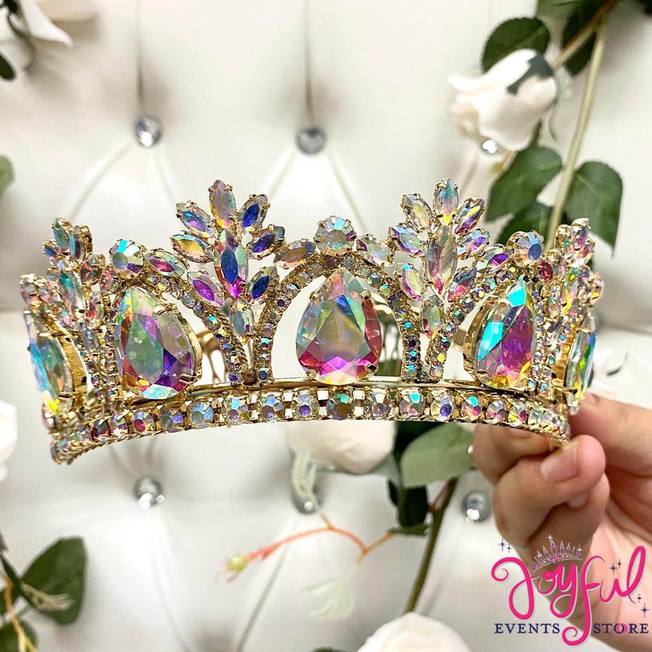 Gold Iridescent Crystal Tiara #T190GD