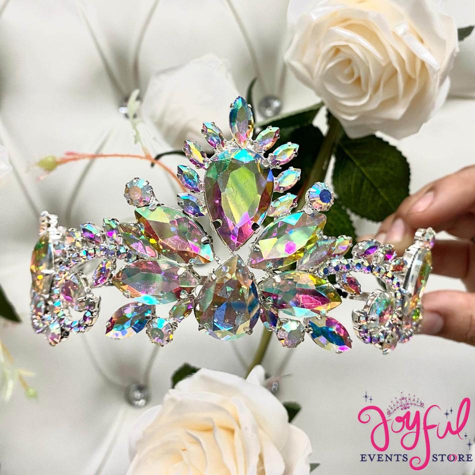 Silver Iridescent Crystal Tiara #T191SV