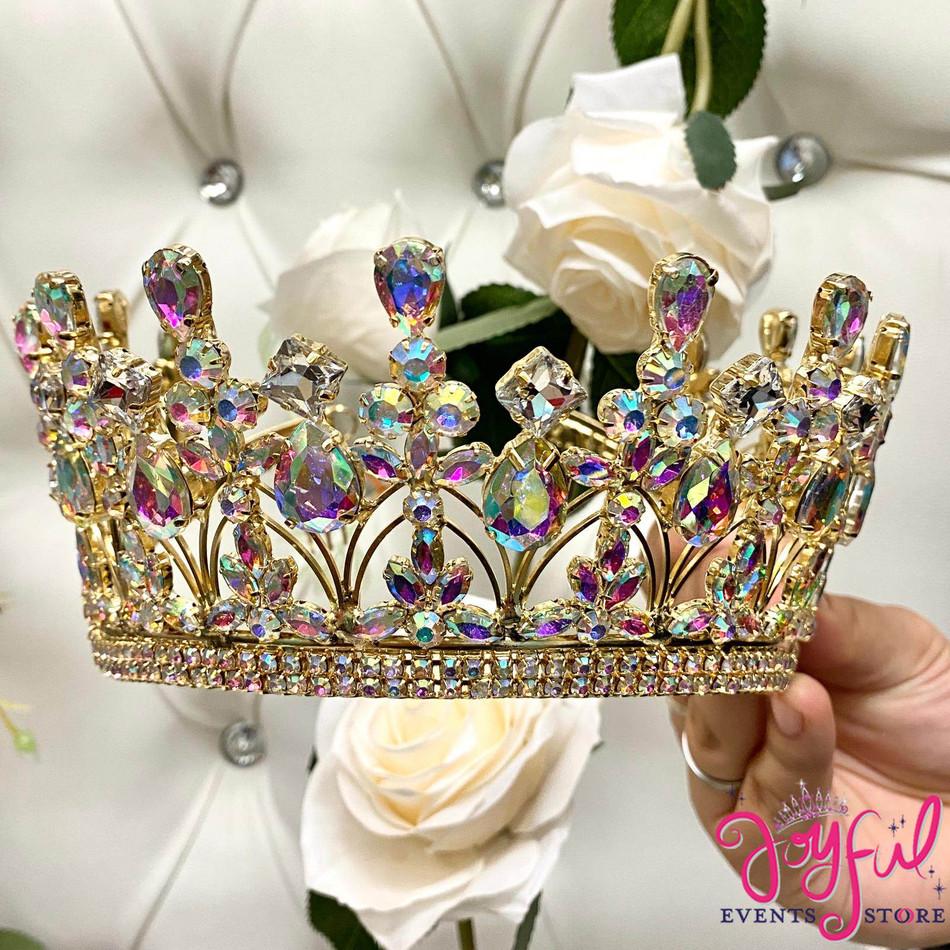 Gold Iridescent Crystal Tiara #T192GD