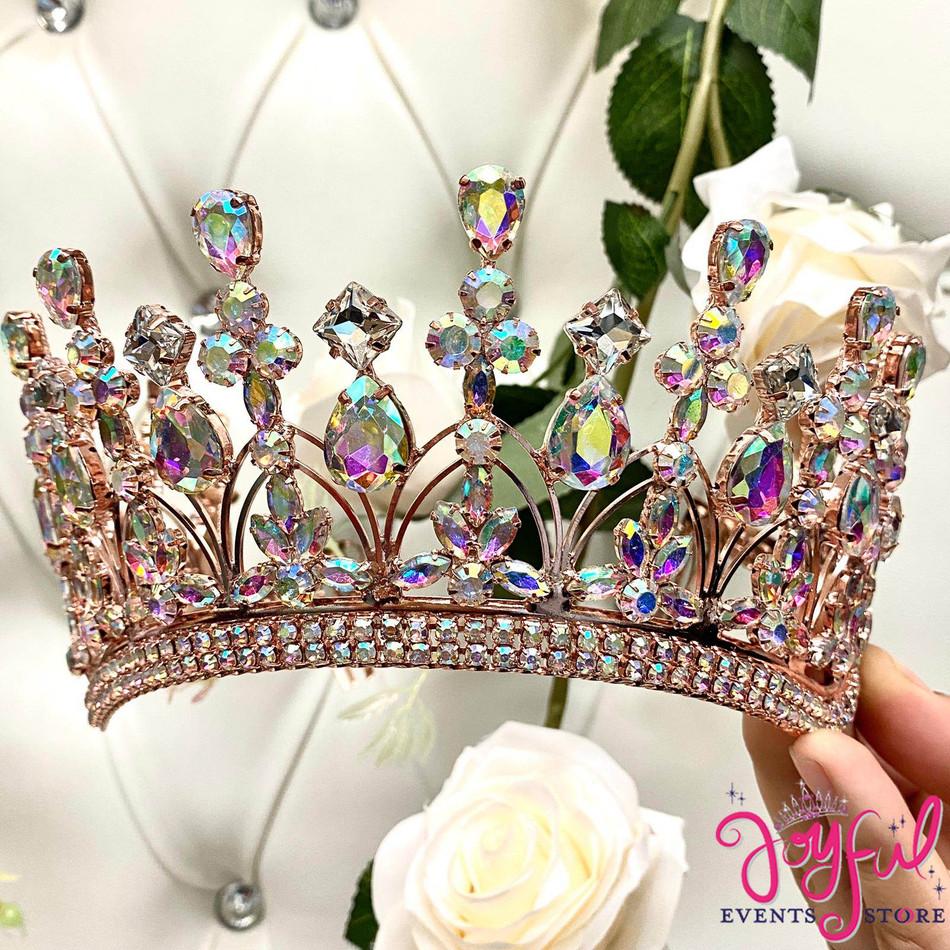 Rose Gold Iridescent Crystal Tiara #T192RG