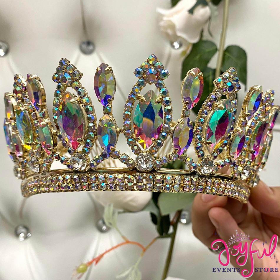 Gold Iridescent Crystal Tiara #T193GD