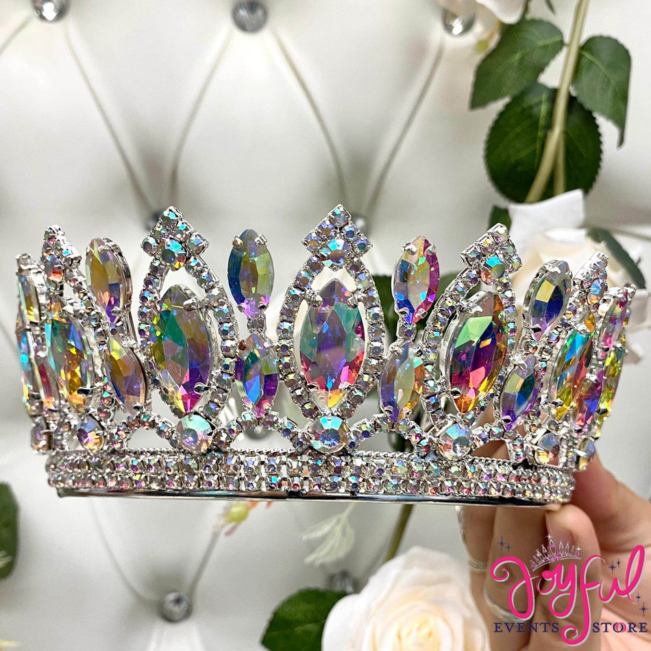 Silver Iridescent Crystal Tiara #T193SV