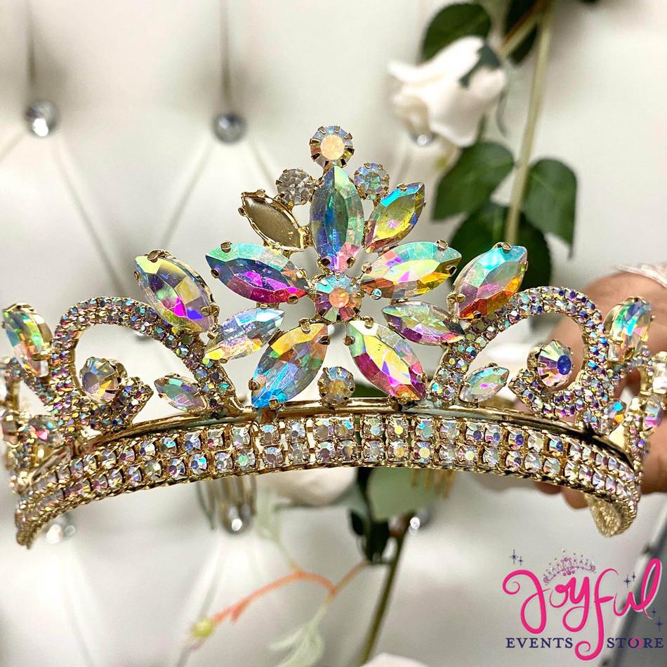 Gold Iridescent Crystal Tiara #T189GD