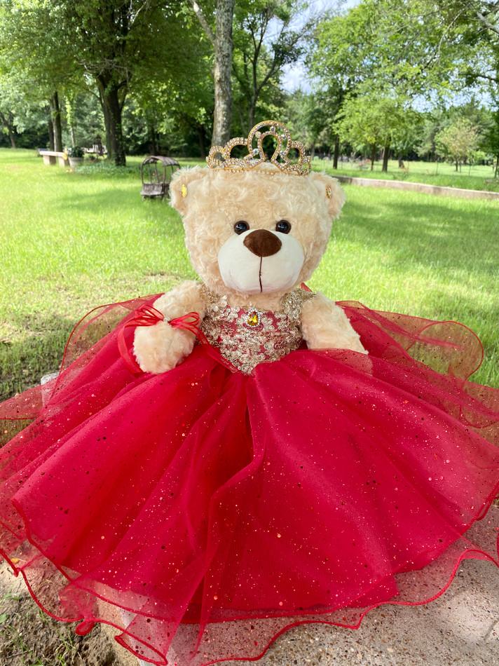 "17"" Quinceanera Teddy Bear with Western Design Tiara #QBR33"