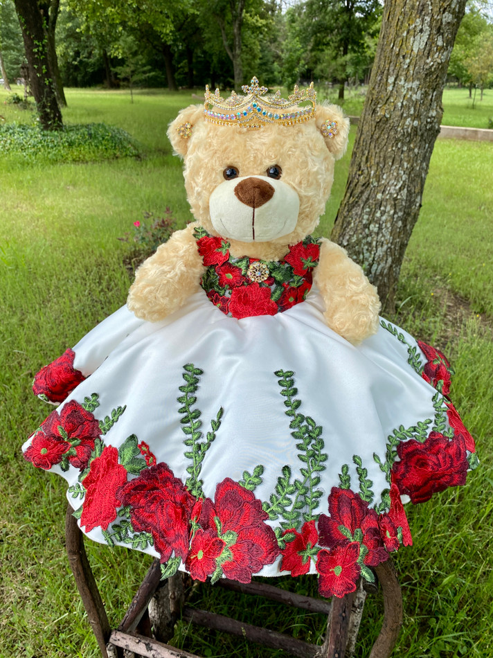 """17"""" Quinceanera Last Toy Teddy Bear with Red Flower Dress#QBR34"""