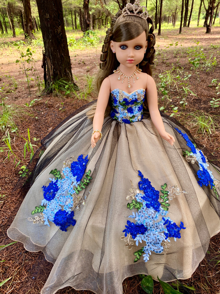 Princess Quinceanera Doll with Black Multi Color Dress #QD13