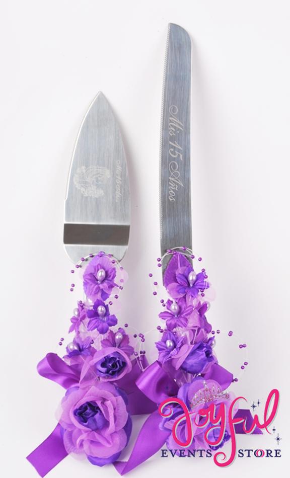 Decorated Cake Server  & Knife Set - 15 Años #DCKNV1