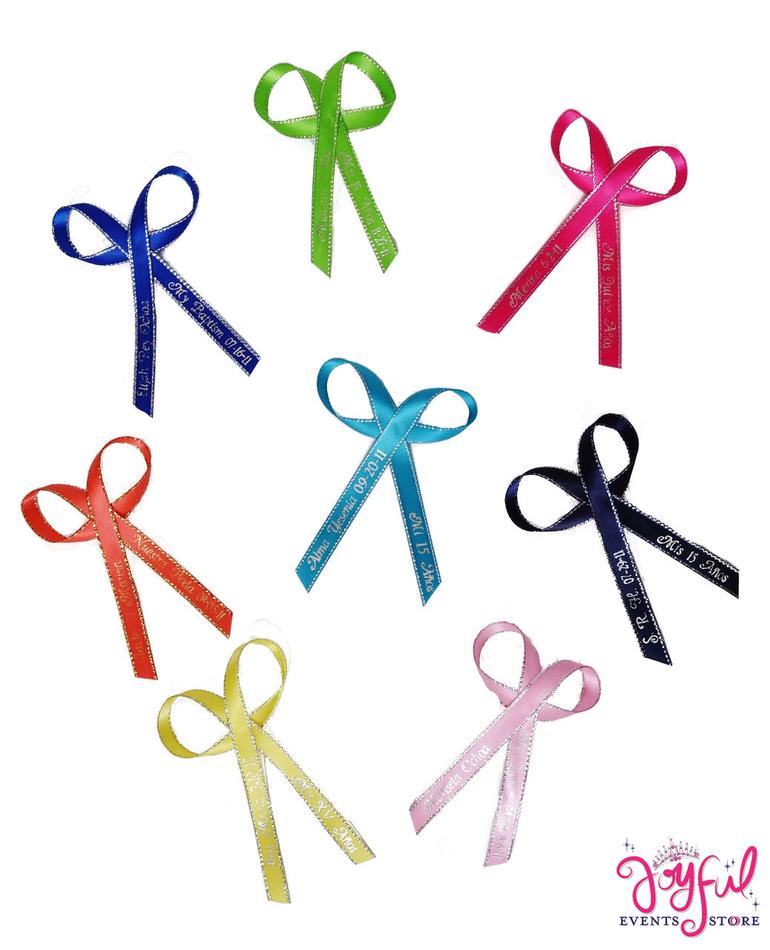 "3/8"" x 12"" Personalized Printed Ribbons - 100 #PRIB"