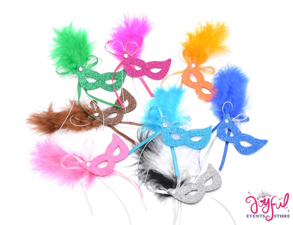 "3.5"" Foam & Feather Mini Masks - One DZ #MSK5"