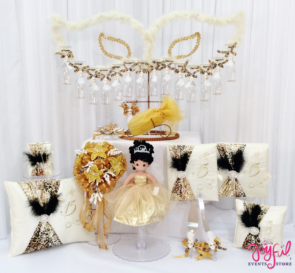 Leopard Quinceanera Package Toasting Set, Doll, Pillows, Guest Book, Album, and Cake Server #PackageSet4