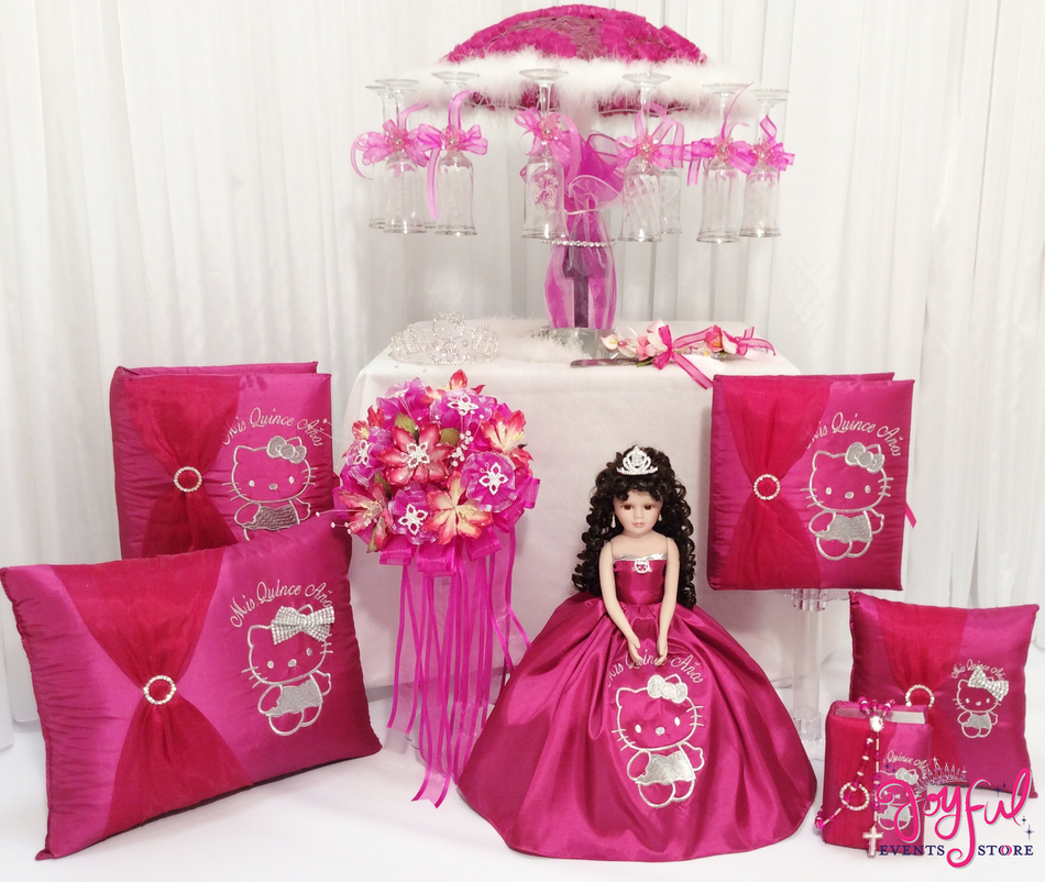Hello Kitty Quinceanera Package Toasting Set, Doll, Pillows, Guest Book, Album, and Cake Server #PackageSet2