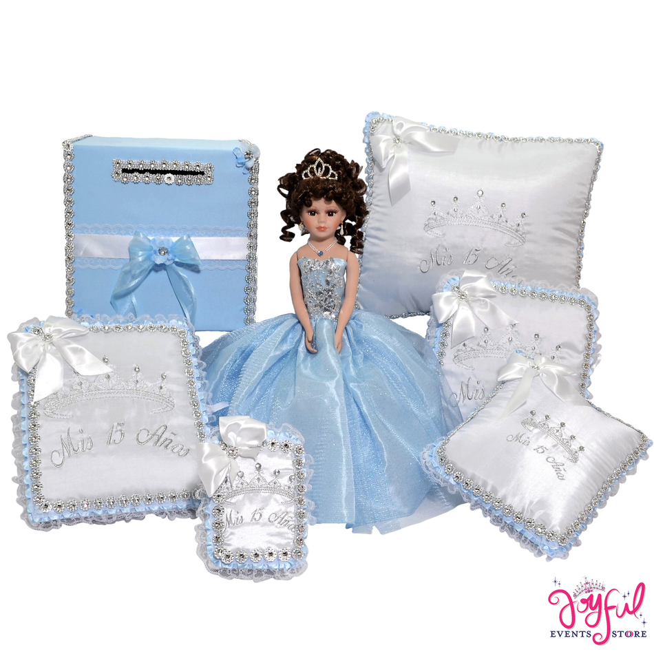 Princess Quinceanera Package Toasting Set, Doll, Pillows, Guest Book, and Photo Album #PackageSet3B
