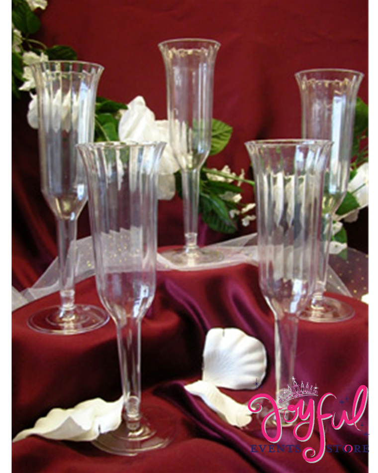 "8"" Plastic Fluted Champagne Cups - 12 Cups #PCP1"