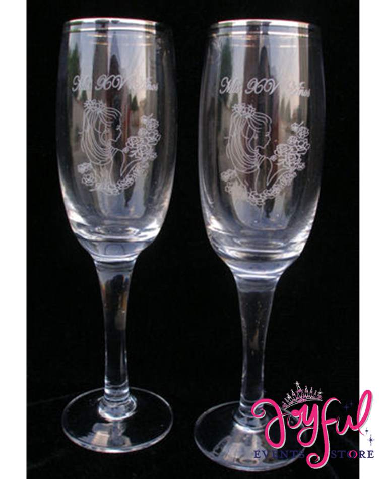 Toasting Glasses - 2 Glasses Pair #TG3
