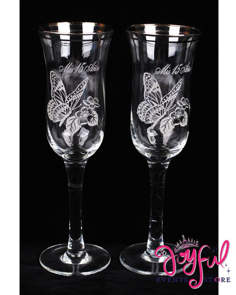"""8"""" Spiral Butterfly Glasses w/Gold Trim - 6 Glasses #TG19BX"""