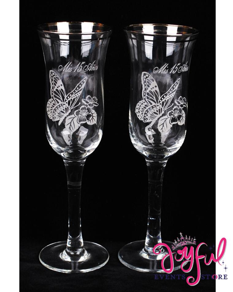 "8"" Spiral Butterfly Glasses - 2 Glasses #TG19"