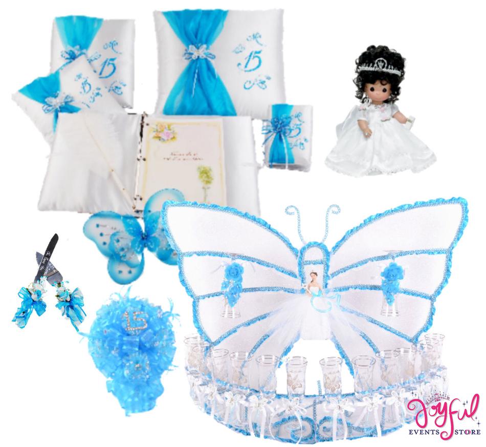 Butterfly Quinceanera Package Toasting Set, Doll, Pillows, Guest Book, Album, and Cake Server #PackageSet10