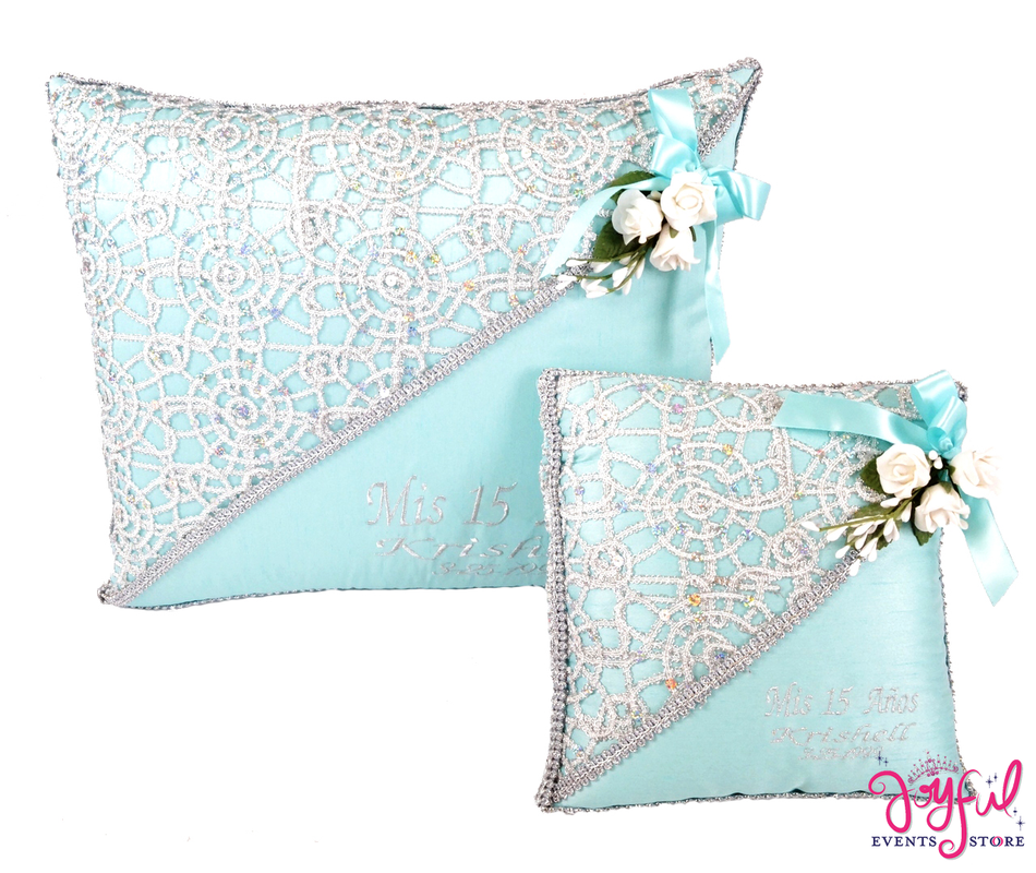 Quinceanera  Kneeling, Slipper and Tiara Pillows  - Two Pillows #CU3