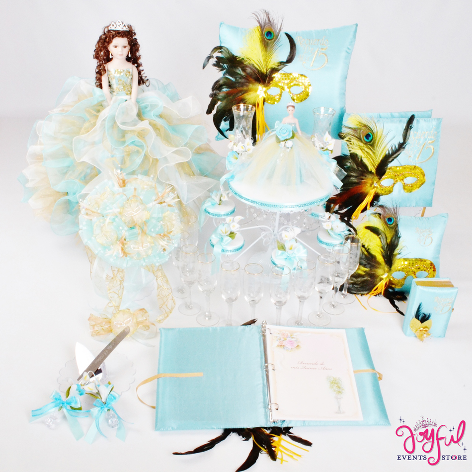 Masquerade Quinceanera Package Toasting Set, Doll, Pillows, Guest Book, Album, and Cake Server #QSP118