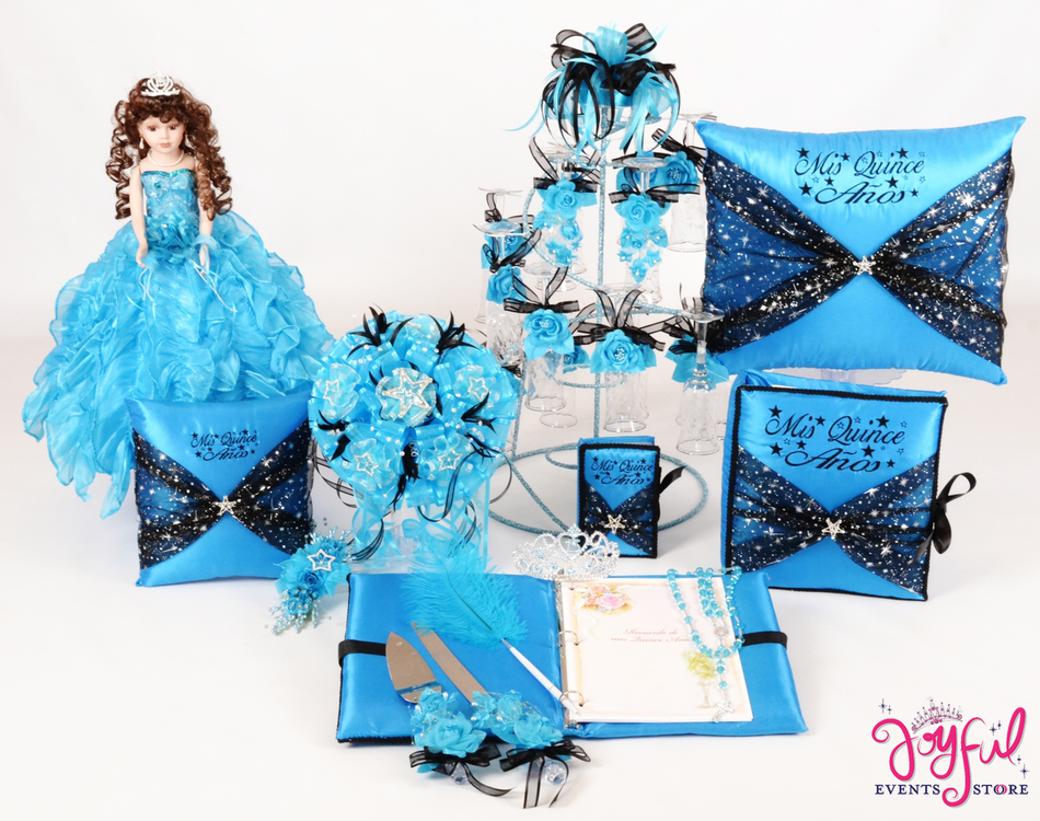 Star Quinceanera Package Toasting Set, Doll, Pillows, Guest Book, Album, and Cake Server #QSP119