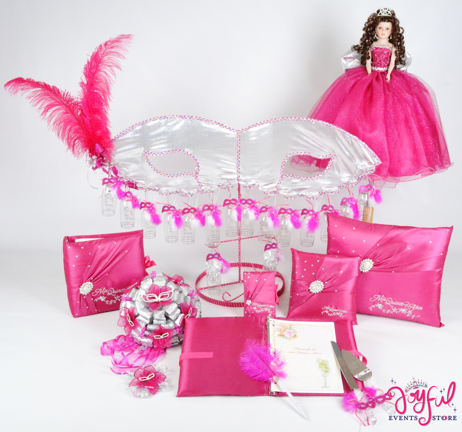 Masquerade Quinceanera Package Toasting Set, Doll, Pillows, Guest Book, Album, and Cake Server #QSP121