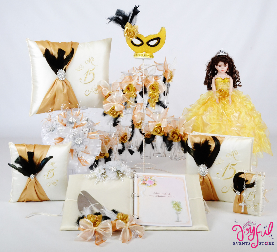 Masquerade Quinceanera Package Toasting Set, Doll, Pillows, Guest Book, Album, and Cake Server #QSP123