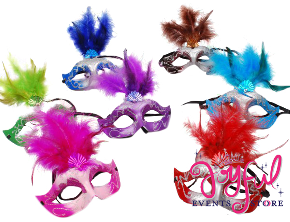 "6"" Colorful Feather Mask #MSK4"