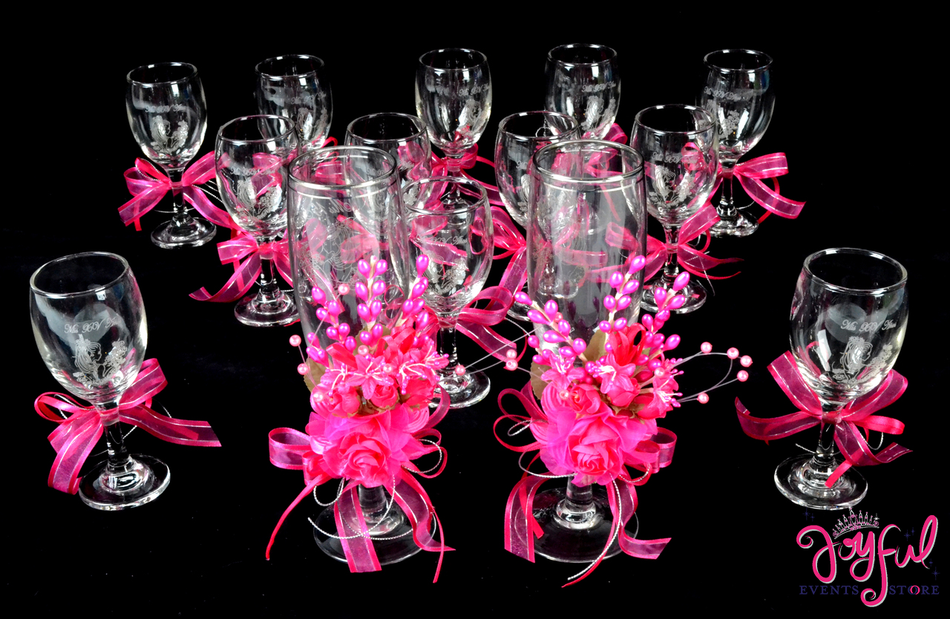 "5"" Decorated Toasting Glasses - 16 Glasses #TG9DEC1"